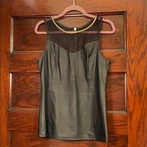 Express Faux Leather and Lace Cami